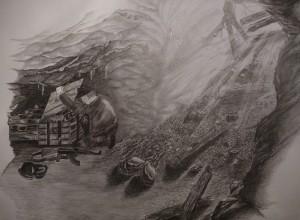 Illusztráció a Felfedezések a föld alatt c. könyvben a barlang megtalálásáról (rajz: Darics Dóra)