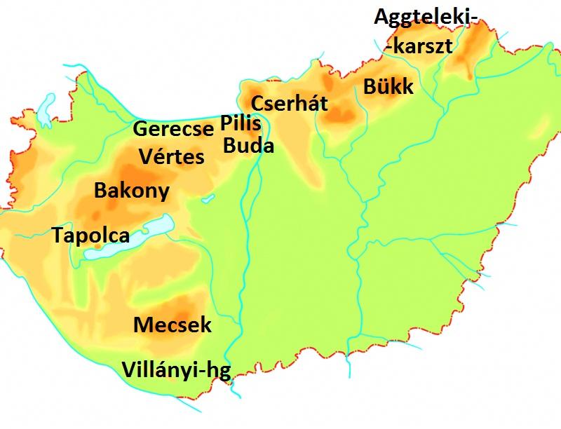 magyarország hegyei térkép Magyarország karsztvidékei   Földalatt.hu magyarország hegyei térkép