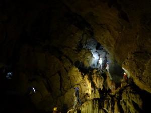 A 2008-ban szintén Göcklerék által feltárt Spirálszíve-terem, amely a Spirál-barlang és egyben a Mecsek legnagyobb terme, fotó: Slíz Gy.