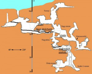 A barlang elzáródásának mértéke az Országos Barlangnyilvántartásból származó térképen bejelölve (Aláhúzott betűvel vannak a megjegyzéseink)