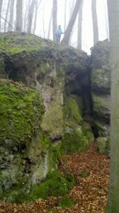 A sziklafal, amelynek a tövében az új barlang található