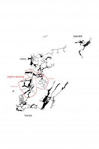 A Legény-barlang és főbb szakaszai a csévi-szirt barlangjainak vázlatos felülnézeti szemléltető ábráján