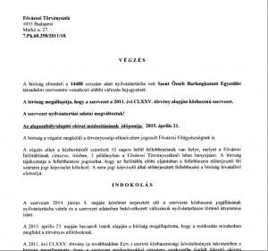 Új közhasznú nyilvántartásba vétel végzés (azóta már jogerőre emelkedett)