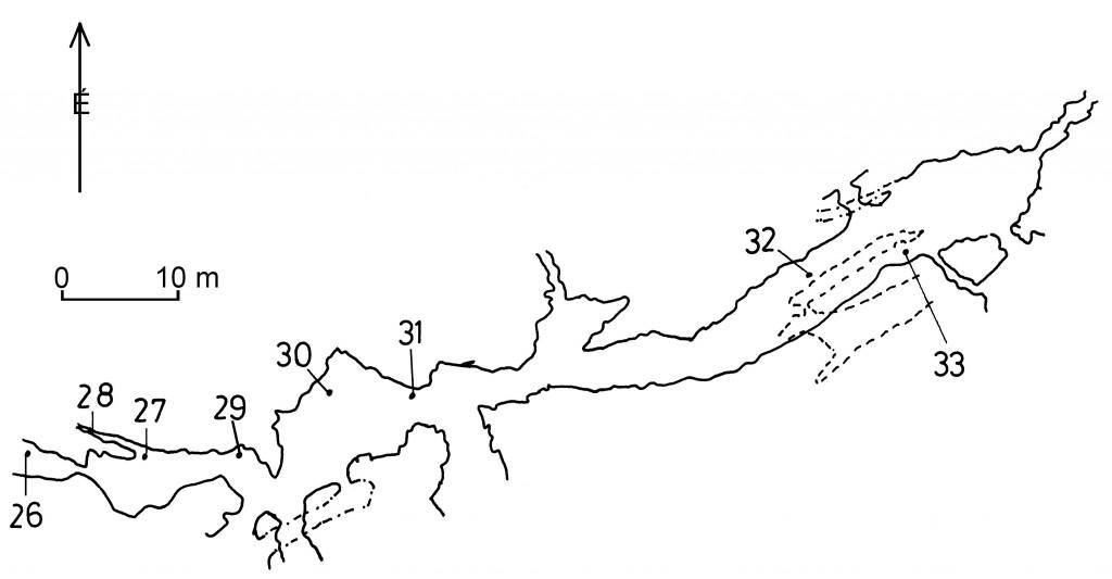 Mátyás-hegyi-barlang részlete Kárpát J. térképe alapján